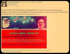 O subsecretário de novas tecnologias educacionais da SME Rio, Rafael Parente, destaca para a rede dele a contribuição da professora Léa para a educação brasileira.  http://catarse.me/pt/projects/842