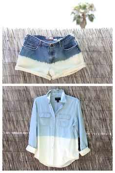 truebluemeandyou:    DIY Dip Dye Bleach Denim Shorts and Shirt Tutorial. A few days ago someone asked about bleach dip dyeing shorts and I had posted several for jeans and one with an ombre effect for a denim shirt, but this tutorial from I Spy DIY here is really detailed and clear.