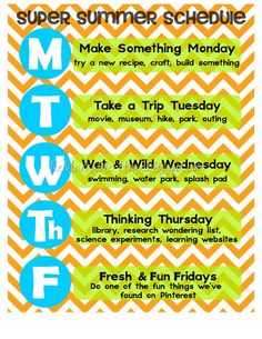 Summer Schedule- a great idea to help keep some sort of routine on holidays! Would also help keep kids from becoming bored. : Summer Schedule- a great idea to help keep some sort of routine on holidays! Would also help keep kids from becoming bored. Summer School, Summer Kids, Summer 2015, School Week, School Holidays, Winter Holidays, Kids Schedule, Weekly Schedule, Daily Schedule For Moms