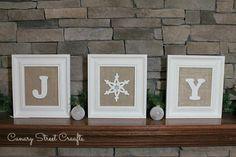 Framed Burlap Joy Sign