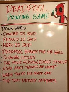Deadpool drinking game - holy balls, this is a good way to get alcohol poisoning Fun Party Games, Adult Party Games, Adult Games, Party Ideas, Game Ideas, Party Hacks, Adult Fun, Party Activities, 31 Ideas