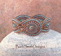 Blue Copper Beaded Leather Cuff Wrap Bracelet  by BarbSmithDesigns