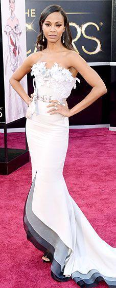 In LOVE with this dress worn by Zoe Saldana. #rogervivierwedding