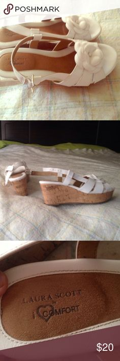 Laura Scott Wedges Their Laura Scott Icomfort wedges. Only worn once as you can see. Their size 8 and need to sell fast to make more space. 👡👡 Laura Scott Shoes Wedges