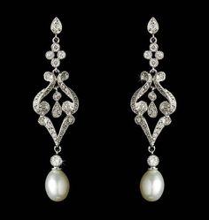 Elegant Vintage Style Cubic Zirconia and Cream Pearl Earrings - Affordable Elegance Bridal -