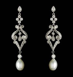 Elegant Vintage Style Cubic Zirconia and Cream Pearl Earrings - Affordable Elegance Bridal -