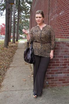 Surely Sonsy/ Leopard blouse, burgundy belt and trousers. Super cute work/date outfit.