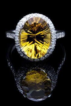 Bijoux Majesty 5.30 Ct Citrine & Diamond Ring In 14K White Gold