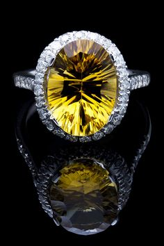 5.30 Ct Citrine & Diamond Ring In 14K White Gold -awesome cut! #fk #fashionkiosk #jewellery