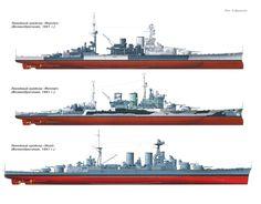 HMS British Royal Navy Battlecruiser Comparisons 1941: Repulse (top), Renown and Hood.