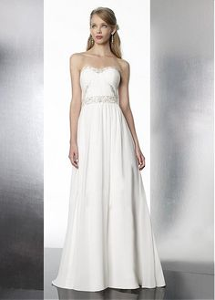 STYLISH A-LINE STRAPLESS SOFT SWEETHEART NECKLINE NATURAL WAIST CHIFFON WEDDING DRESSES LACE FORMAL PROM PARTY BALL GOWN