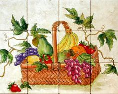 Fruit Basket Hand Painted Fired Tile Mural Backsplash 18 Part 85