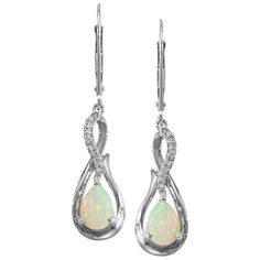 Ben Garelick 14K White Gold Opal Dangle Earrings Featuring Two Pear Cut Opals Weighing 0.80 Carats and 0.11 Carats Round Cut White Diamonds