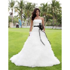 Ball Gown Strapless Court Train Tulle Wedding Dress – take off black and change    With a lighter color