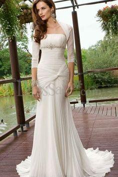 Pleated Chiffon Mermaid Wedding Dress with Sleeves
