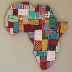 Wood Block Art - Africa Shape