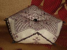 Plum Tudor Blackwork Star Motif Beaded Biscornu 8 sided Pincushion by RedCatt, £9.25