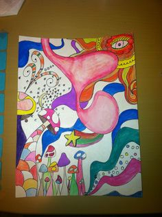 Trippy Pen & Watercolor Pencil Painting by AmyLeigh