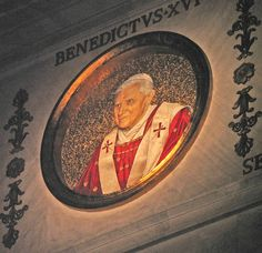 His Holiness, Pope Benedict XVI, now gloriously reigning... This roundel in St Paul's Basilica in Rome is the only one with a spotlight on it.