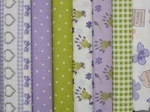 Stoffpaket -Lavendel-Flieder- 7 Stoffe ( 50 cm x 30 cm ) für 11,50 €