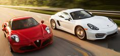PORSCHE CAYMAN vs ALFA ROMEO 4C http://autoreview.info/porsche-cayman-vs-alfa-romeo-4c D o your tax returns routinely trigger defcon alerts at the irs ? Are your personal finances cited in biz-school case studies of the filthy rich? If so, please skip this story. This comparison test is for sports-car enthusiasts of somewhat lesser means—those with Moët tastes and, well, a Moët budget, once in a while, if the kids are already out of college