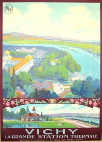 Vintage Railway Travel Poster - Vichy - La Grande Station Thermale - France.