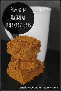 Pumpkin Oatmeal Breakfast Bars: A great filling on the go breakfast for those rushed mornings. Also make a good afternoon snack. Freezer friendly.