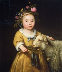 "Painting writing prompt. ""Girl with Lamb,"" by Aelbert Cuyp (1620-1691) Dutch"