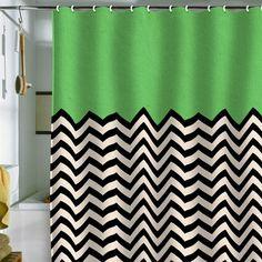Chevron &  Bianca Green Shower Curtain.