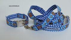 Oktoberfest Design in blau Hunde Halsband + Leine von stitchbully.de für Hunde auf DaWanda.com