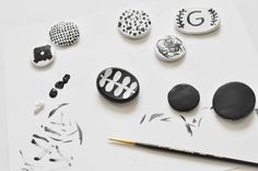 DIY hand painted black and white clay magnets