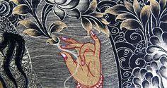 Chinese Painting Art- Black Gold Thangka