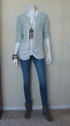 Daily Look:@CAbiClothing #Spring13 #Fashion Ruby Jean, Front & Ctr. Blouse & Society Sweater w boho jewelry & boot
