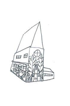 Flower's house art, pencil sketch, original pencil art, original drawing, original aceo weird art ooak, original atc, artist trading card