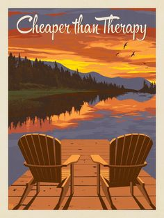 Anderson Design Group – Lake and Lodge – Cheaper Than Therapy Lake Cabins, Mountain Cabins, Lake Decor, National Park Posters, Lake Signs, Vintage Travel Posters, Poster Vintage, Estilo Retro, Lake Life