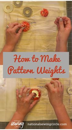 Using pattern weights can be a great alternative to pins depending on the type of fabric you are using. Ashely Hough demonstrates how to make pattern weights using large washers and circles of fabric. Sewing Class, Sewing Tools, Sewing Basics, Sewing Hacks, Sewing Tutorials, Sewing Ideas, Pattern Weights, Sewing Circles, Sewing Leather