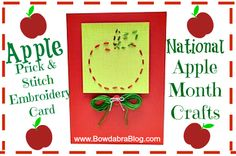 National Apple Month Crafts Bowdabra Blog- fun Apple Prick & Stitch Embroidery Card