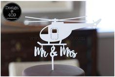 Mr & Mrs White Acrylic Helicopter Wedding Cake Topper : Design @ 409