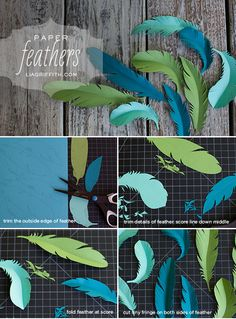 (via DIY Paper Feathers | Lia Griffith) Worked fairly well. Mine aren't nearly as pretty but thats okay