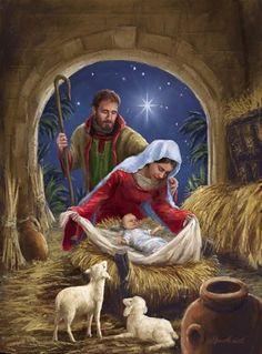 Holy Family with sheep by Marcello Corti - Jesu Geburt -