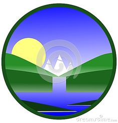 Image representing a waterfall throwing in a lake. An image that can be used for label, sticker or logo.