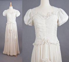 Vintage 1940s Wedding Dress, 40s Wedding Dress, Ivory Net Gown, Medium