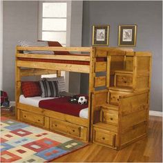 Bunk bed for the boys!!!  It has stairs with built-in drawers instead of a ladder.