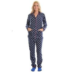 Angelina Polka Dotted Fleece Pajama Sleepwear Set (Blue & White, Large) Angelina