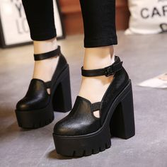 2017 New Spring Autumn Female Fashion Ankle Strap Pumps Women Thick High Heeled Single Shoes Girls Casual Platform Shoes Black Pretty Shoes, Beautiful Shoes, Cute Shoes, Me Too Shoes, Sock Shoes, Shoe Boots, Kinds Of Shoes, Platform High Heels, Ankle Strap Heels
