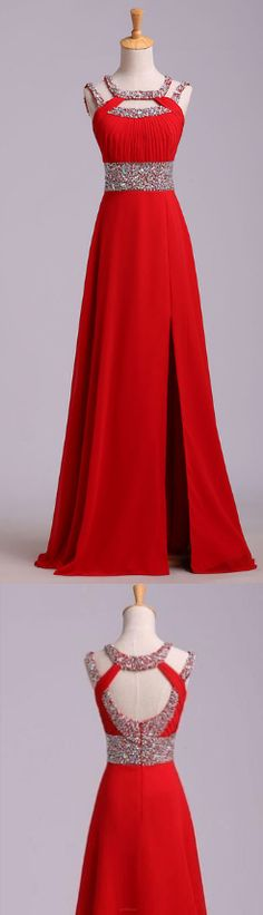 Long Prom Dresses 2017, Red Prom Dresses, Prom Dresses 2017, Long Prom Dresses, 2017 Prom Dresses, Red Long Prom Dresses, Prom Dresses Red, High Low Dresses, 2017 Long Red Chiffon Beaded Backless High Low Prom Dresses