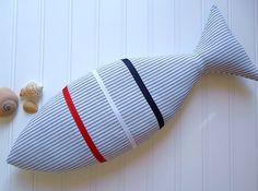 Nautical Pillow - Red, White, and Blue Decor - Beachy Pillow - Kids Room Decor - Fish Pillow. $20.00, via Etsy.