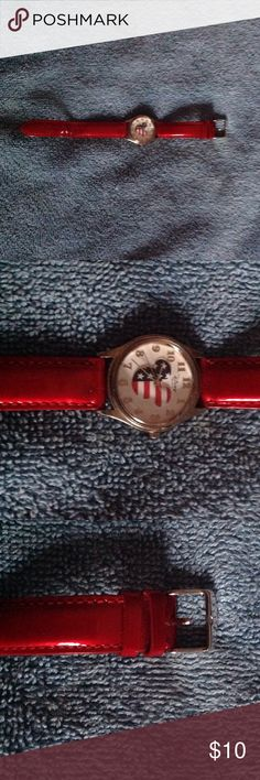 Patriotic Disney Watch So cute with red band.  Red, White, and Blue Mickey.  Purchased from Disney Disney Accessories Watches