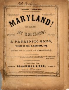 Maryland, My Maryland: State Song