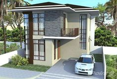 Collection: 50 Beautiful Narrow House Design for a 2 Floor Home With Small Lot - Bahay OFW Narrow House Designs, Modern House Design, Two Storey House, 2 Story Houses, Lots For Sale, 2nd Floor, Beautiful Homes, Small Spaces, House Plans